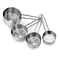 4 PCS Solid Sturdy Stainless Steel Stackable Measuring Cups Set to Measure Dry and Liquid Ingredients for Kitchen Cooking Baking