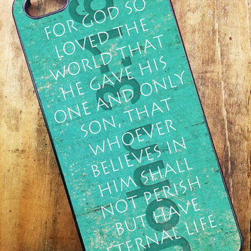 iPhone 4, iPhone 4s, iPhone 5, Samsung Galaxy S3 Cell Phone Case John 3 16 Religious For God so loved the world