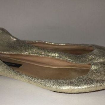 Women's Ann Taylor Gold Metallic Toe Cleavage Leather Ballet Flats Shoes Sz. 7.5