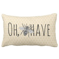 Rustic Vintage Honeycomb | Funny Oh Bee-Have Lumbar Pillow