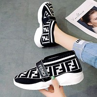 Free shipping-Fendi thick bottom wild muffin bottom breathable flying woven shoes White
