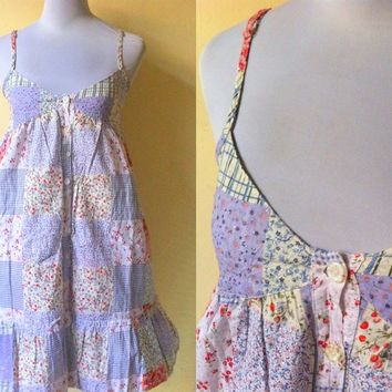 Spring / Summer Sale: periwinkle patchwork print sundress (small)
