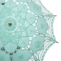 Romantic Battenburg Lace Parasol Adult Size with Embroidery (Aqua)