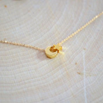 Dainty Gold Vermeil Moon and Star Necklace Simple Necklace Everyday Necklace