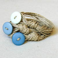 Wrap Stacked Fiber Bracelet Natural Linen Cord Fiber Necklace Sand and Blue Shades Gift For Her Eco-friendly Shabby chic