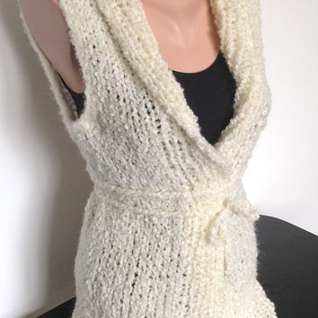 Hand Knit Wool Acryl Cream  Vest Gift for Women Half Sleeve
