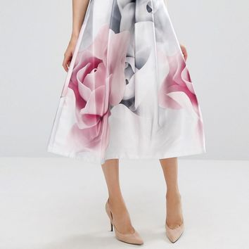 Ted Baker Jolana Full Midi Skirt in Porcelaine Rose Print at asos.com