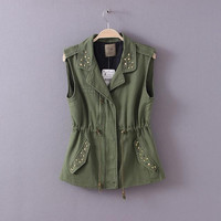 Army Green Beaded Notched Drawstring Sleeveless Shirt