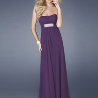 Column/Sheath Floor-length Sleeveless Brush Train Chiffon Prom Dresses