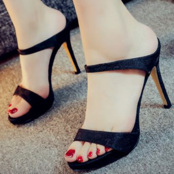 GUCCI 2018 new stylish sexy sandals and slippers with high heels F0259-1 black