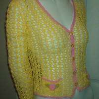 BETSEY JOHNSON SWEATER Crocheted Crop