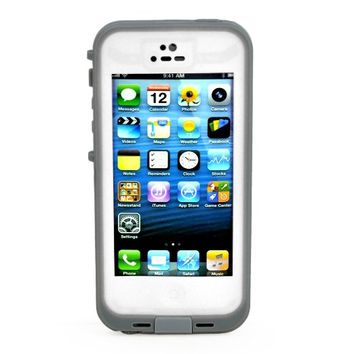 FAVOLCANO® Waterproof Shockproof Full Body Skin Case Cover Pouch for iPhone 5 5S, Multi Purpose Protective Skin for Water, Shock, Snow, Dirt (White)