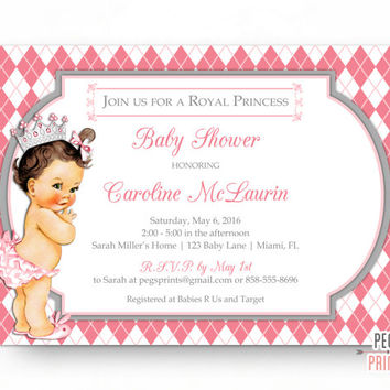 Princess Baby Shower Invitation Girl - PRINTABLE Royal Princess Baby Shower Invitations - Little Princess Baby Shower Invites Princess Theme