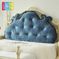 Princess plush rustic bedside large sofa king bedding big cushion decoration back side pillow blue  beige ivory pink cushion