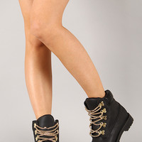 Liliana Timbo-2 Chain Lace Up Round Toe Bootie