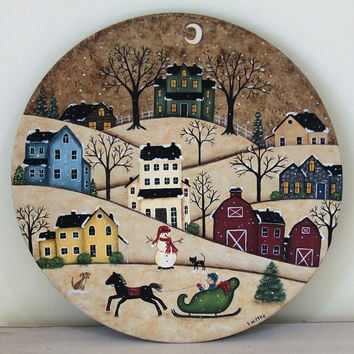 Winter Folk Art Painting Wood Plate - READY TO SHIP - Primitive Winter Scene Country Village Saltbox Houses Christmas Holiday Horse Sleigh