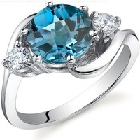 3 Stone Design 2.25 carats London Blue Topaz Ring in Sterling Silver Rhodium Nickel Finish Size 7
