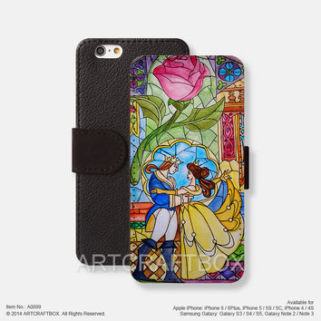 The beauty and the beast iPhone Samsung Galaxy leather wallet case cover 099