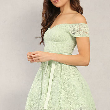 Tulle Lined Off-The-Shoulder Lace Fit And Flare Dress