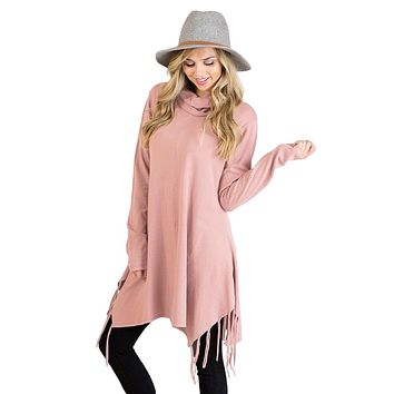 Chicloth Pink Cowl Neck Fringe Tunic
