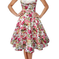 Sweetheart Collar Sleeveless Floral Print Pleated Skater Midi Dress
