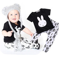 2pc Toddler Kids Baby Boy Girl Outfit Short Sleeve T-shirt Top+Pants Clothes Set