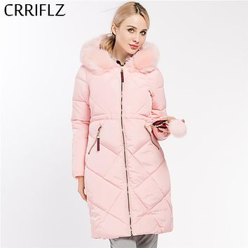 Women Coat Jacket Warm Woman Parka Jacket With Fur Collar Detachable Winter Long Coat Women CRRIFLZ 2017 New Winter Collection
