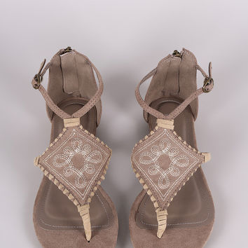 Bamboo Suede Embroidery And Whipstitch Thong Flat Sandal