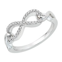 Infinity Diamond Ring in Sterling Silver (1/8 cttw) (Size-9)