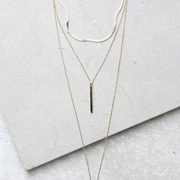 Sleek Peek Gold Layered Choker Necklace