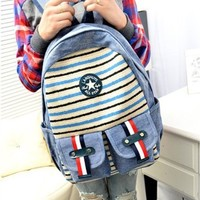 Navy Stripe Canvas Backpack With Outside Pockets (Blue Stripe)