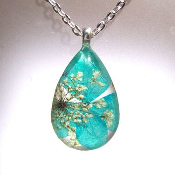 Hydrangea blue Real Pressed Flower Glass Pendant Necklace