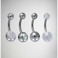 14 Gauge Silver Gem Banana 4 Pack