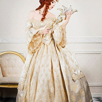 Ultimate Fantasy Marie Antoinette Wedding Lace Back Sparkle Gown Custom
