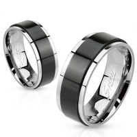 Two Tone Stainless Steel Ring with Black IP Spinner
