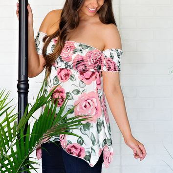 * Sugar And Spice Off The Shoulder Floral Top : Ivory