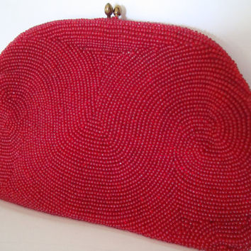 Vintage Beautiful Red Beaded Clutch Purse Made in Belgium  1960's