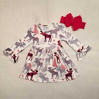Christmas tree Fall/winter baby girls cotton moose reindeer dress ruffle children clothes boutique outfits plaid match headwear
