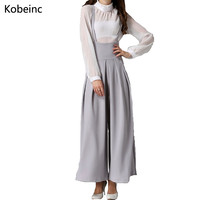 Fashion Back Cross Strap Wide Leg Overall Pants 2017 Summer New Casual All Match Culottes Solid Color Elastic Waist Rompers