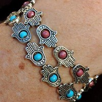 Silver Hamsa Stretch Bracelet with Pink Beads from Black Tied