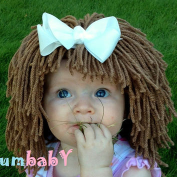 Brown Cabbage Patch-Inspired Baby Hat Winter Beanie Photo Prop Baby Girls Fashion Hair Wig Baby Costume Winter Fashion Gift Ideas