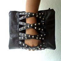 Vegan Studded Clutch, handbag,Black Faux leather. cross traps. Modern and fun.