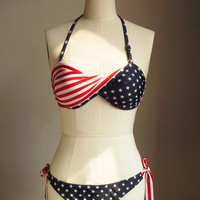 American Flag Bikini With Bottom Fashionable Beach Bikini Swimwear Swimsuit