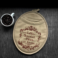 Pot Holder Mitt - French Cafe. Tan & Brown Neoprene Oven Mitt. Kitchen Decor, French Country, Rustic, Hostess gift, Chocolat