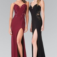 Sexy V-cut fitted formal dress with high slit #gl2223