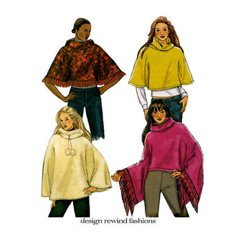 2000s PONCHO PATTERN Hooded Poncho Standing Collar Poncho with Trim Pom Poms Butterick 4612 Womens Sewing Patterns Size 16 18 20 22 Large Xl