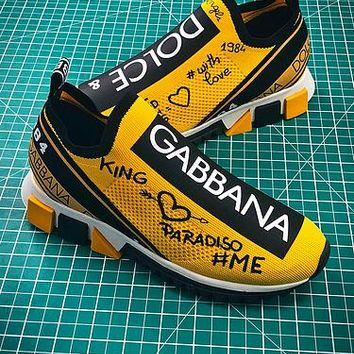 Dolce £¦ Gabbana 2018 D £¦ G Sorrento Yellow Sport Shoes - Best Online Sale