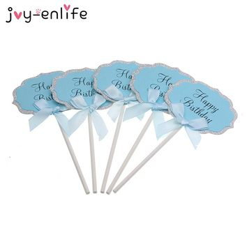 JOYENLIFE 5pcs/lot Blue/Pink Happy Birthday Paper Cake Topper Kids Children Birthday Party Baby Shower Cupcake Decor Supplies