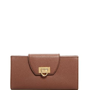 Salvatore FerragamoMediterraneo Fold Over Pebbled Leather Wallet