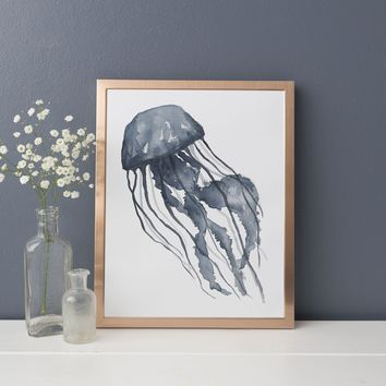 Blue Watercolor Jellyfish Art Print or Canvas